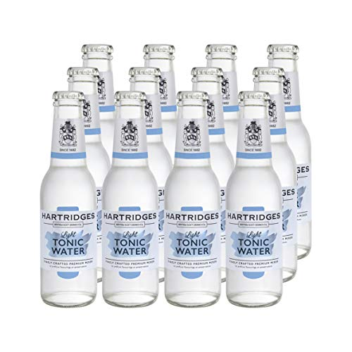 Hartridges Premium Light Indian Tonic Water for Gin, Vodka, Tequila and More, Pack of 12x 200ml Bottle. Deliciously Dry and Botanical Soft Drink, Create Your Favourite Cocktail Alcohol Drinks at Home