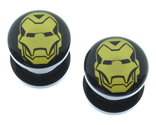 "Marvel Comics - Tapones de rosca acrílicos con logotipo de Iron Man (4G-1"")"