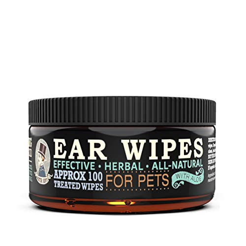 MISTER BEN'S Original XXL Treated Ear Cleaner Wipes w/Aloe for Dogs, Cats Small Pets – Most Effective Wipes Soothe & Clean Odors, itching, and irritations – Approx 100 Extra Large 3' Pads