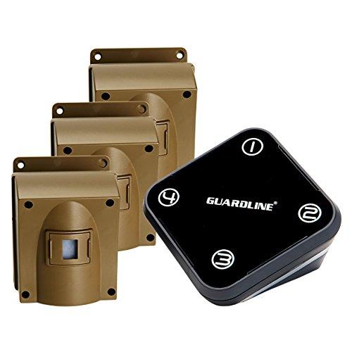 Wireless Driveway Alarm w/Three Sensors Kit Outdoor Weather Resistant Motion Sensor/Detector- Best DIY Security Alert System- Protect Home, Perimeter, Yard, Garage, Gate, Pool (Receiver + 3 sensors)
