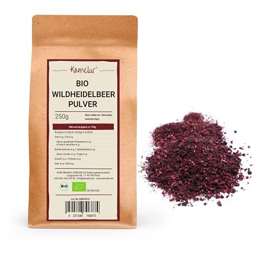 Kamelur Bio Wild Heidelbeerpulver gefriergetrocknet aus EU-Landwirtschaft - 250g - Heidelbeer Pulver Bio aus wilden Heidelbeeren in biologisch abbaubarer Verpackung