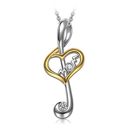 Alex Perry Regalo Plata de ley 925 Collar Colgantes Mujeres Zirconia Nota Corazon Chapado en Oro Joyería para Elle Su Madre Amante Cumpleaños Aniversario