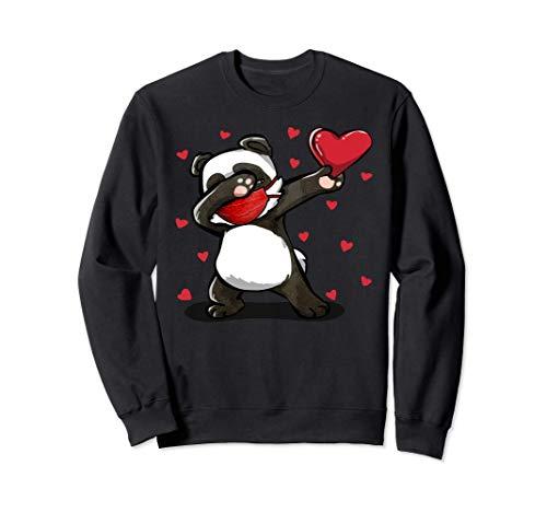 Dabbing Panda Wears Face Mask Heart Regalos de San Valentín Sudadera