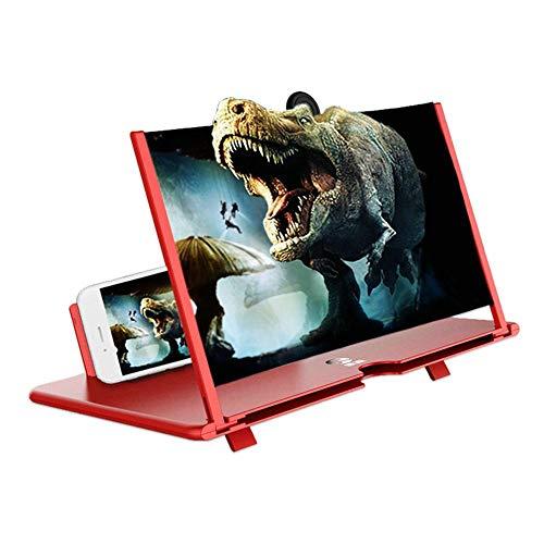 Fresnel Mirror Screen Magnifier, 3D HD Telefoon Scherm Vergrootglas Opvouwbare Stand Houder 12 inch Harde Plsatic voor Alle Smartphone iPhone 11 XS XR 8 7 Plus Samsung S10 S9 S8 Note 10 9 Moto LG HUAWEI, Rood