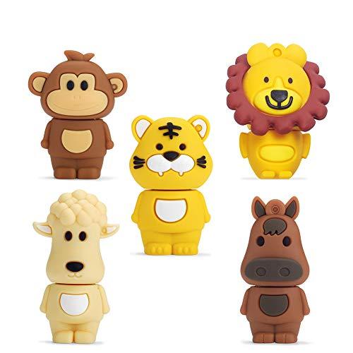 USB-Stick 16GB Packung mit 5 Stück, BorlterClamp Speicherstick mit Niedliches Tiermuster, Geschenk für Studenten und Kinder