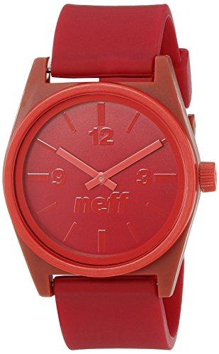 Neff NF0217MNRD Armbanduhr, Unisex, Analoganzeige, japanisches Quarzuhrwerk, Rot