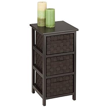 Honey-Can-Do OFC-03716 3-Drawer Natural Wood Frame Storage Organizer Chest, 12.01 24.80-Inch, Espresso Brown