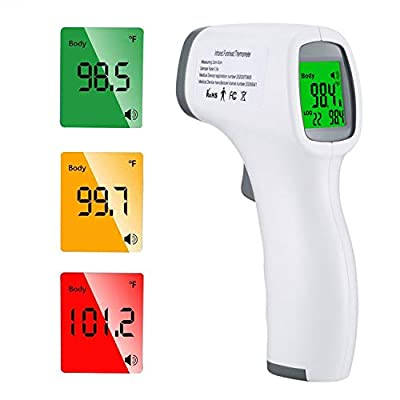 Forehead Thermometer, Digital Thermometer Infrared Touchless for Adult Baby and Kids Body Temperature Measurement in 1 Second Digital Thermometer Temperature Gun with Fever Alarm LED Display