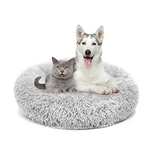 MMTX Donut Rund Hunde Betten Katzen Plüsch Haustierbett Hundekissen Hundesofa Katzenbett Warm Weich Deluxes Schlafen Bett zum Katzen und Kleine Hunde Rutschfestes Waschbar (XL: 70cm, Grau)