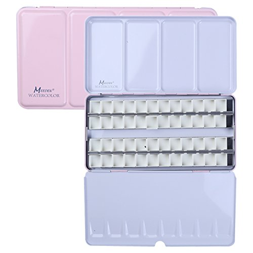 ATWORTH Empty Watercolor Tins Palette Paint Case Metal Box with 48 Half Pans for Watercolor Paints(Pink)