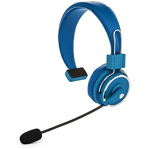 Blue Tiger Elite Premium Wireless Bluetooth Headset – Professional Truckers' Noise Cancellation Head Set with Microphone – Clear Sound, Long Battery Life, No Wires - 34 Hour Talk Time - Blue