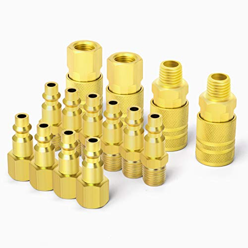 Taisher Air Hose Fittings, 1/4''NPT Quick Connect Air Coupler and Plug Kit, I/M Type, 14 Pieces Air Compressor Accessories Fittings