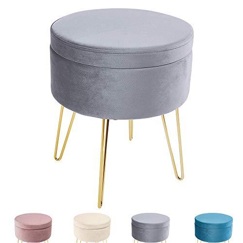 Zedelmaier Runder Sitzhocker Schminktisch Hocker Ottoman Gepolsterter Hocker Abnehmbarer Bezug Metallstütze (Grau)