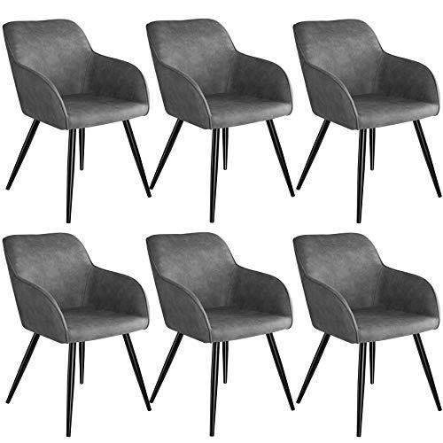 tectake 800871 6er Set Esszimmerstuhl mit Armlehnen, gepolsterte Stoff Sitzfläche, Schwarze Metallbeine, für Wohnzimmer, Esszimmer, Küche und Büro (Grau)