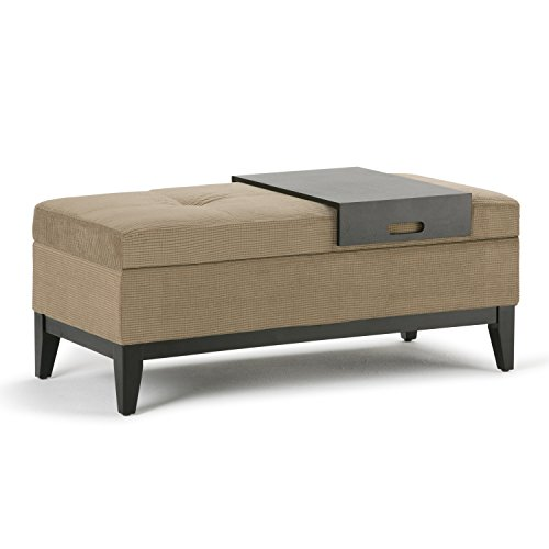 SIMPLIHOME Oregon 42 inch Wide Transitional Rectangle Lift Top Storage Ottoman Bench with Removable Tray, Upholstered Khaki Beige Tufted Chenille Look Fabric, Footrest, Coffee Table for Living Room
