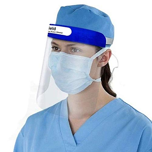 ORILEY ORFSN01 350 Micron Disposable Face Shield with Adjustable Elastic Strap Anti-Splash Single Use Protective Facial Cover Transparent Full Face Visor with Eye & Head Protection (1 PC)