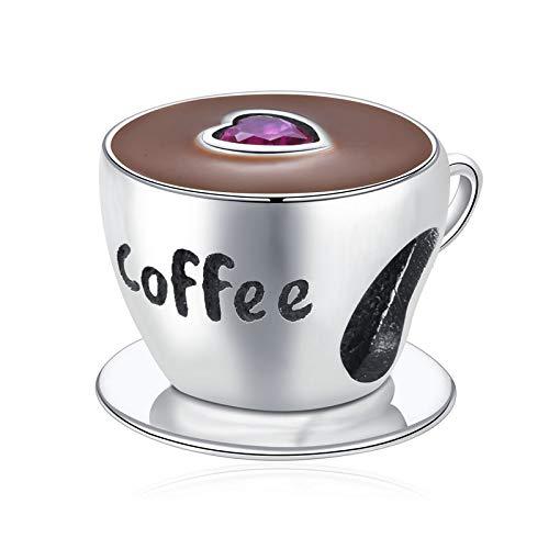 LISHOU DIY Taza De Café Cuentas De Metal para Mujer Pulsera De Encanto Europeo Esmalte De Plata Esterlina 925 Encantos De Moda Joyería