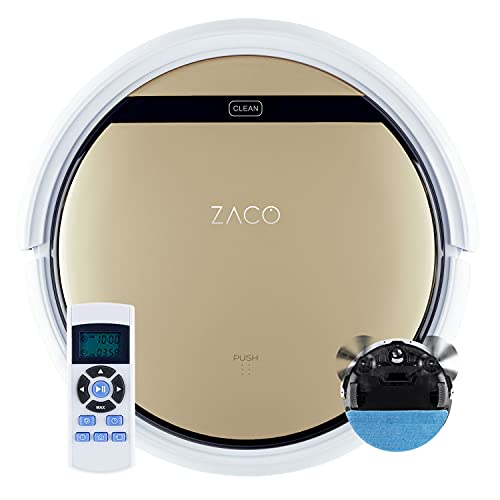 ZACO V5sPro z funkcją mopowania, automatyczne odkurzanie, mopowanie na mokro do 180 m² lub odkurzanie, do twardych podłóg, ochrona przed kapaniem, bezworkowy, ze stacją ładującą, 300ml