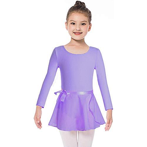 Ballettkleid Mädchen Langarm/Kurarm Ballett Trikot Body Baumwolle Ballettanzug mit Chiffon Wickelrock Kinder Ballettkleidung Set