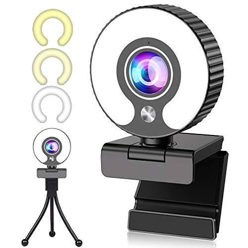 Webcam 1080P mit Mikrofon, GUORUI Web cam Live-Streaming Webcam mit Ringlicht, Stativ, 360° Schwenkradius, USB Webcam Kamera für PC, Videochat, Laptop, Skype, Zoom, (Weiß/Natürlich/Warmes Licht)