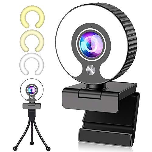Webcam 1080P con Micrófono, GUORUI Full HD Web CAM 1080P con trípode y Anillo de Luz, Web Camera rotación de 360 ° para Ordenador para Youtube, Skype, Xbox One y Conferencias Portátil Videollamadas