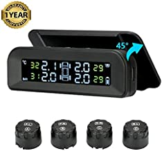 Tire Pressure Monitoring System TPMS Solar tire Pressure Monitor 22-87 Psi Mount on Windshield with 4 External Sensors Car Tire Real-time Wireless Auto Alarm System