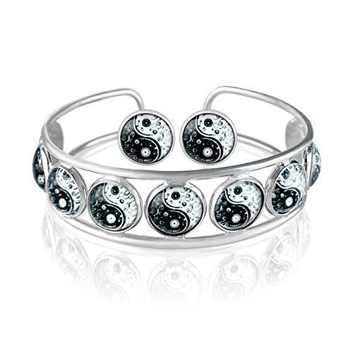 Klimisy Yin Yang sieradenset met armband en oorbellen – bij elke aankoop plant je een boom. - Hoogwaardige armband van roestvrij staal met oorstekers van glas - yoga-tialisman