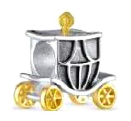 BOLENVI Colgante de plata de ley 925 con diseño de carruaje de princesa para pulseras o collares de abalorios similares