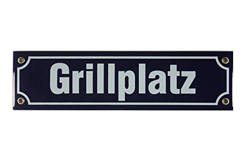 Buddel Bini Straßenschild Grillplatz Emaille Grillen BBQ Garten, 30 x 8 cm, blau