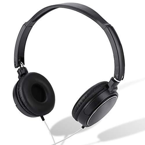 Dpofirs Auricualres Plegable con Cable, Auriculares de Casco Diadema de Música Sonido Estéreo, Auriculares Portátiles de Estudio para Estudiantes, Admite Tarjeta TF Función FM, Color Negro