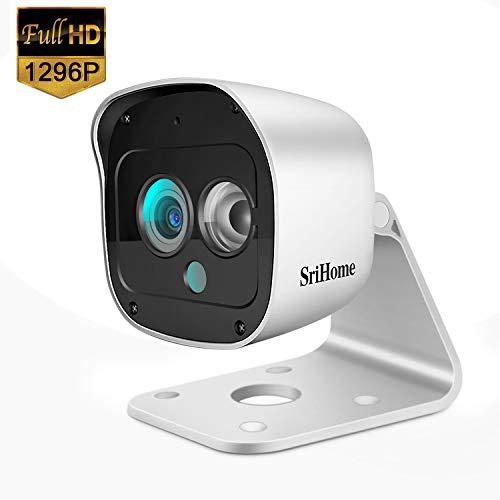 SriHome Überwachungskamera, WiFi, 1296P, Überwachungskamera, wasserdicht, IP66, WLAN, mit Bewegungserkennung, Nachtsicht, bidirektionales Audio