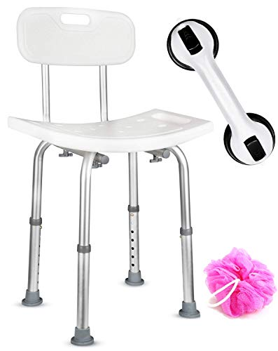 DR. MAYA Adjustable Bath and Shower Chair - Free Suction Assist Grab Bar - Anti-Slip Bench Bathtub Stool Seat for Bathroom Safety (Shower Chair with Back)