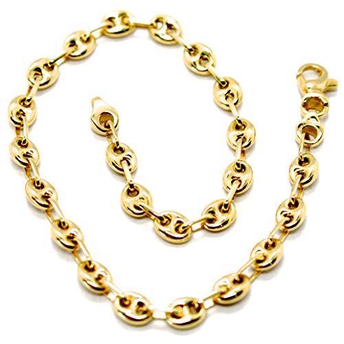pulsera de Oro Amarillo De 18K 750, Camiseta Marina, marineros 4mm, Ovalados...