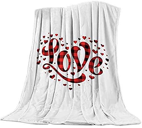 Manta de franela de forro polar cálida y suave, para dormitorio, sala de estar, sofá de 150 x 150 cm, con forma de corazón, color rojo y negro a cuadros, día de la madre