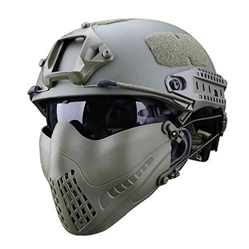 Paintball Tactical Quick Helm, Atmungsaktive Faltbare Halbmaske Und UV-Schutzbrille Green