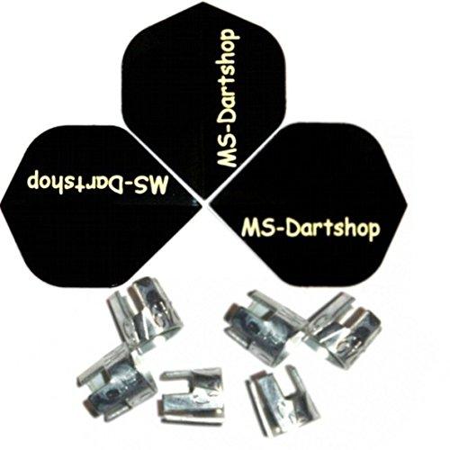 MS-DARTSHOP Schaft-Kronen für Nylon-Dart-Schäfte, incl. 3 Satz MS-DARTSHOP Flights (10 Set)