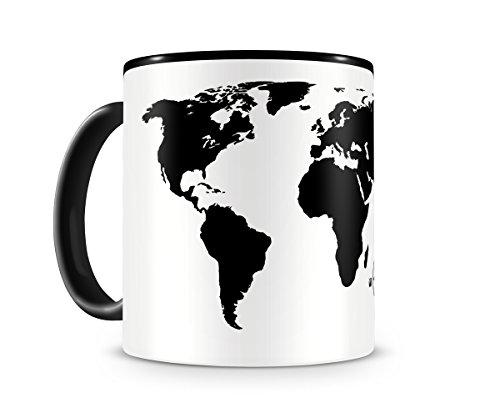 Samunshi® Weltkarte Karte Weltenbummler Tasse Kaffeetasse Teetasse Atlas H:95mm/D:82mm schwarz