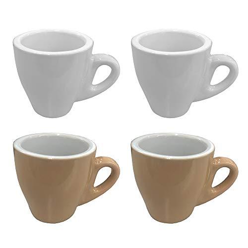 CREOFANT Espresso Tassen 4er Set · Tassen Set Pastellfarben · Kaffeebecher · Kaffeetassen Keramik · Pastell Becher (Braun – Weiß)