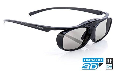 Hi-SHOCK BT/RF Pro Black Heaven | Aktive 3D Brille für 3D TVs von Sony, Samsung, Panasonic & 3D-RF Beamer von Sony, Epson [120 Hz | wiederaufladbar | 32g | RF/Bluetooth]