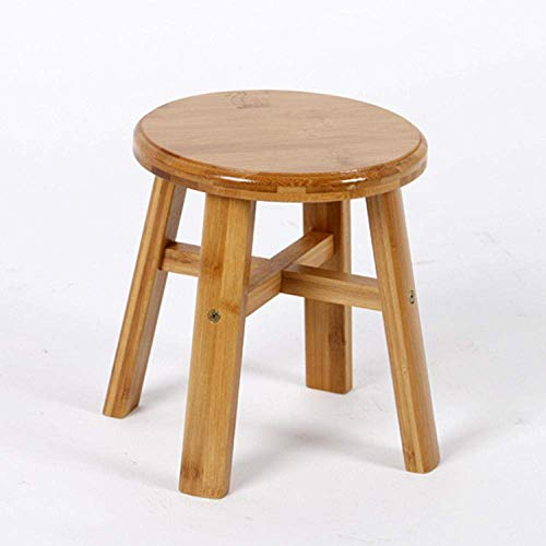 Ottoman Childrens Wooden Stool Chair or Adult Footstool Bamboo Creative Adult Solid Wood Stool 10.8 x 10.8 x 15.3 inches