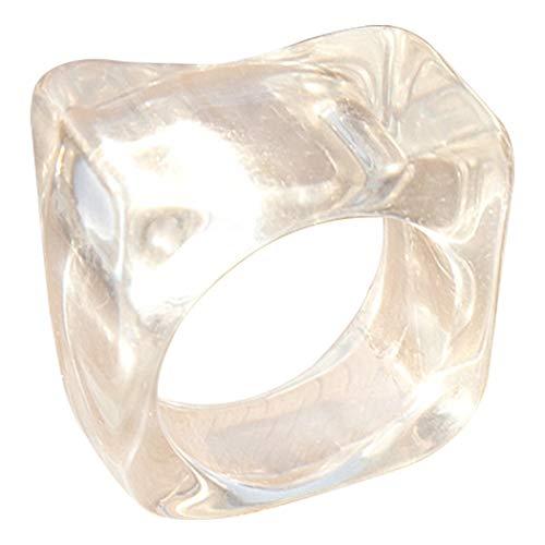 COSYOO Anillo ancho de arte de resina para mujer, anillo de nudillo simple, anillo de articulación irregular, decoración de anillo de dedo, transparente, M