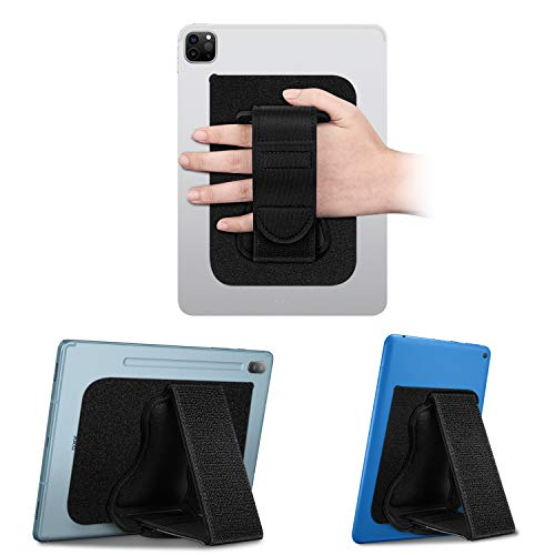 Fintie Universal Tablet Hand Strap Holder - [Dual Stand Supports] Detachable Padded Hook & Loop Fastening Handle Grip with Adhesive Patch for iPad/Galaxy Tab/ Fire and All 7-11' Tablets, Black