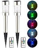 Lunartec LED Lampe Farbwechsel: 2er-Set Solar-RGB-LED-Wegeleuchte mit Lichtsensor & Fernbedienung IP44 (Solar-Garten-Beleuchtung)