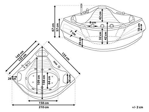 Whirlpool Badewanne St. Tropez mit 14 Massage Düsen + Heizung + Ozon Desinfektion + LED Unterwasser Beleuchtung / Licht + Wasserfall + Radio – Sprudelbad Hot Tub indoor / innen günstig - 9