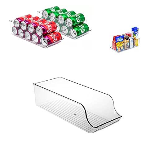 Caja de Almacenaje para Nevera o Congelador – Contenedor de Plástico para Latas – Organizador de Despensa – Compartimentos de Almacenamiento – Envases para alimentos – Organizador de Latas