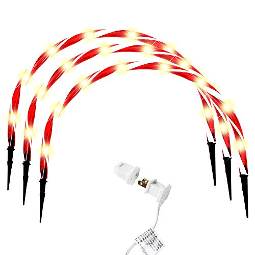 Joiedomi Candy Cane Arch Pathway Markers Lights Set of 3 Christmas Stakes Lights Outdoor Pathway Decorations