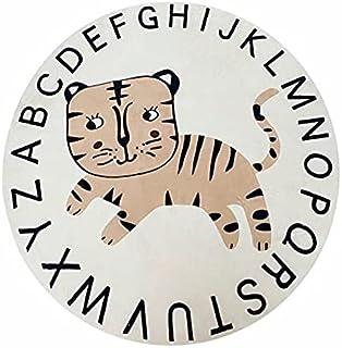 Alphabet Rug ABC Rug Cartoon Animal Round Carpet Cute Mat Circle Playmat Nursery Classroom Kids Room Playroom Baby Shower ...