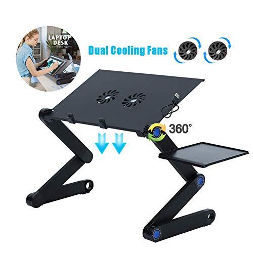 Laptop Stand Desk Verstelbaar Notebook Slaapbank tafel met dubbele koelventilator en Muis bord Vouwen tafel voor Werk Lezing Gamen,480 * 260mm
