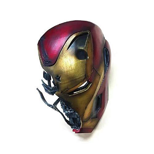 Iron Man Casco Máscara Batalla Daño Versión, Marvel Avengers 4 Superhéroe Resina Máscaras faciales cascos Película de Halloween Cosplay Accesorios de vestuario Artesanías,Iron Man-31cm*20cm*23cm