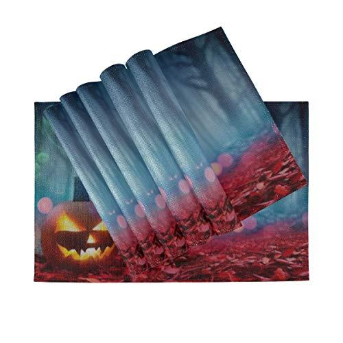 LIF Tischsets 6er-Set, wärmeisolierende waschbare Tischsets, Kürbis auf roten Blättern Spooky Forest 18 x 12 Zoll Küchentischmatten Tischset für Esstisch